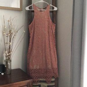 Peach colored lace detail dress